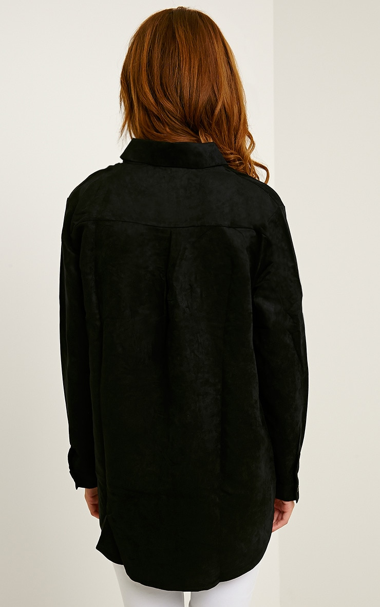 Blithe Black Faux Suede Oversized Shirt 2