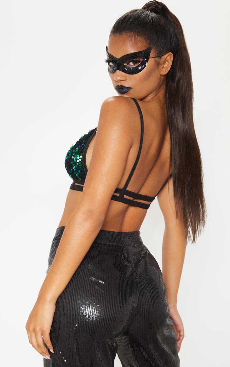 Green Sequin Harness Bralet  2