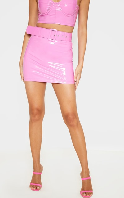 Hot Pink Vinyl Belt Detail Mini Skirt