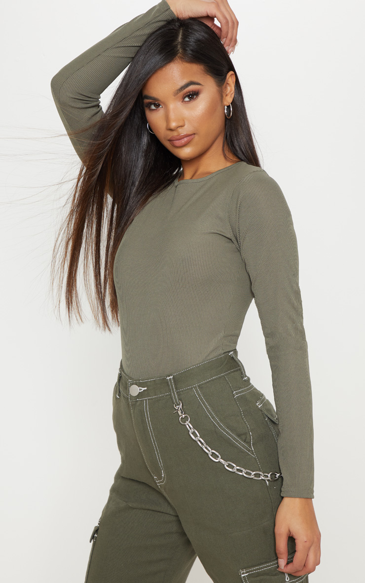Khaki Rib Scoop Neck Long Sleeve Bodysuit 1