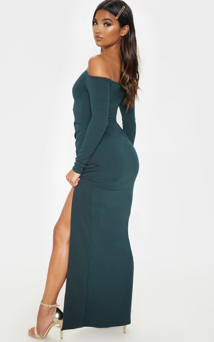Emerald Green Wrap Over Long Sleeve Bardot Maxi Dress 2