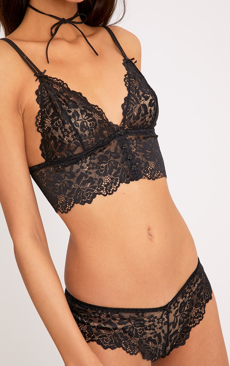 Lila Black Lace Bralet & French Knicker Set 5