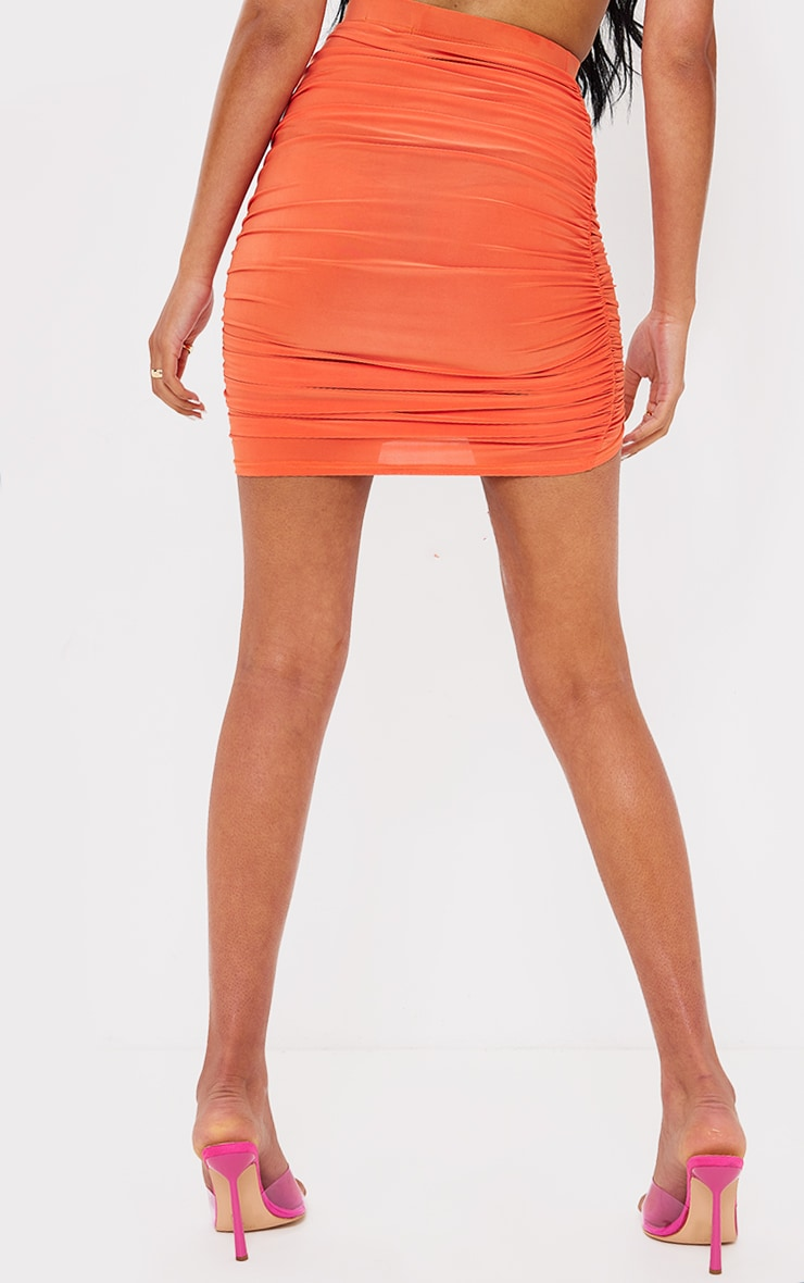 Tall  Orange Ruched Side Bodycon Skirt 3