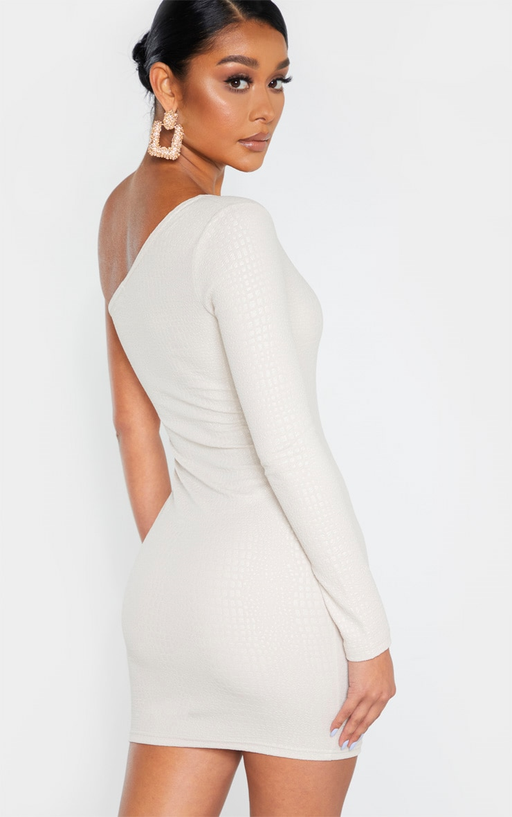 Nude Textured Croc One Shoulder Bodycon Dress 2
