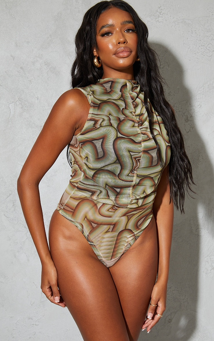 Sage Green Abstract Printed Mesh Ruched Front Bodysuit 2
