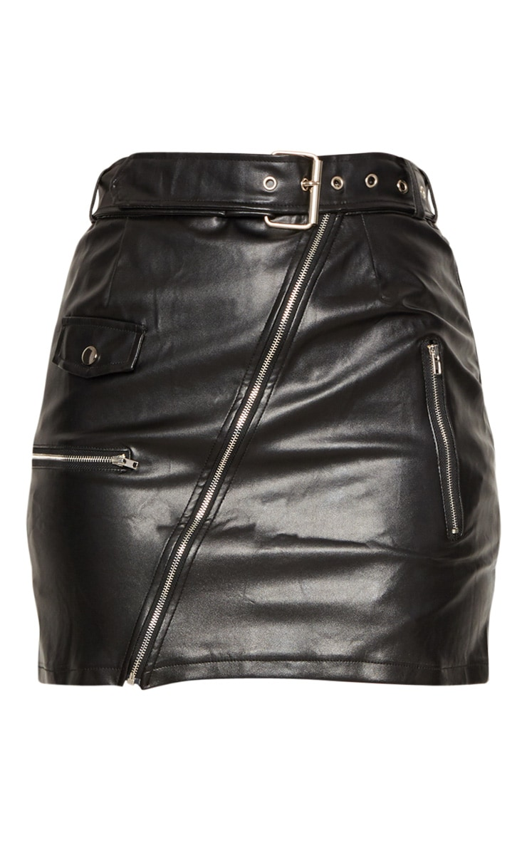 Black Faux Leather Biker Belted Mini Skirt 3