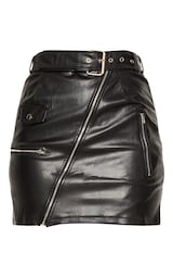 ff82ab3c3 Black Faux Leather Biker Belted Mini Skirt   PrettyLittleThing USA