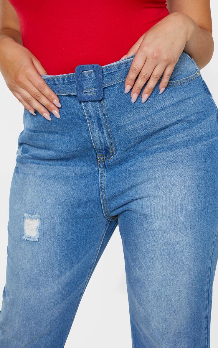 Plus Mid Wash Belt Detail Distressed Straight Leg Jean  5