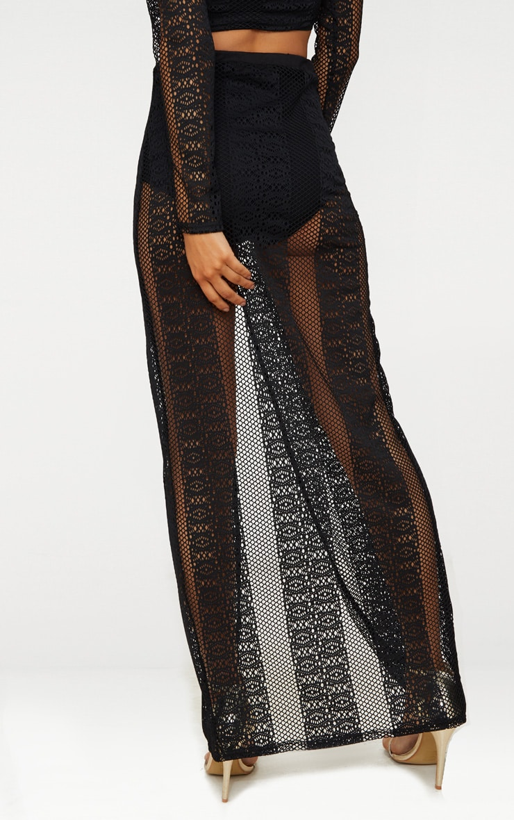 Black Lace Split Maxi Skirt 4