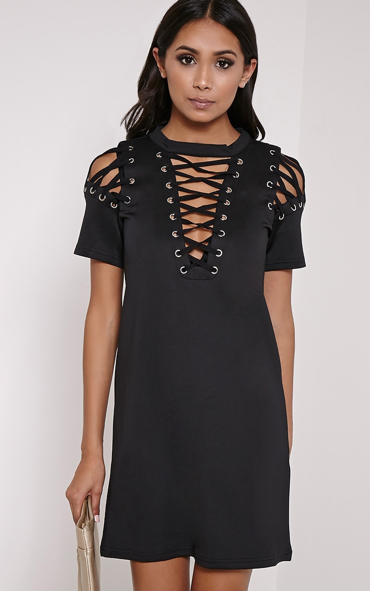 Rowan Black Scuba Lace Up Shift Dress 1