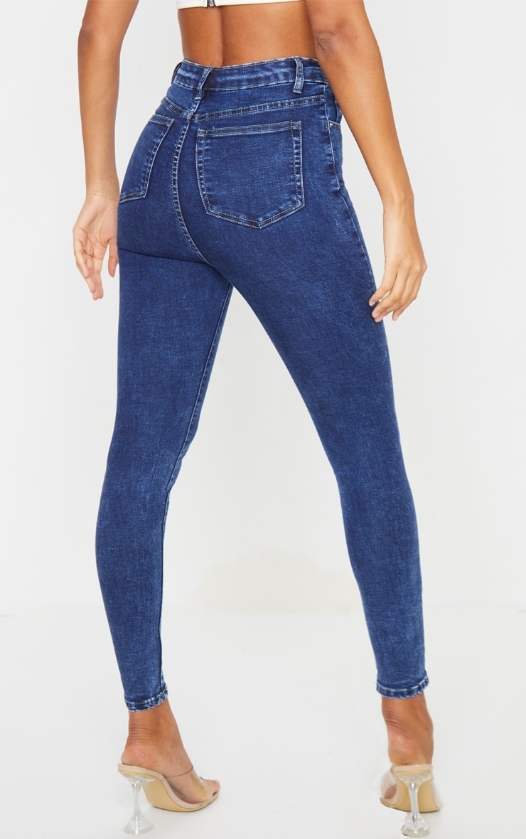 PRETTYLITTLETHING Washed Indigo 5 Pocket Skinny Jeans 3