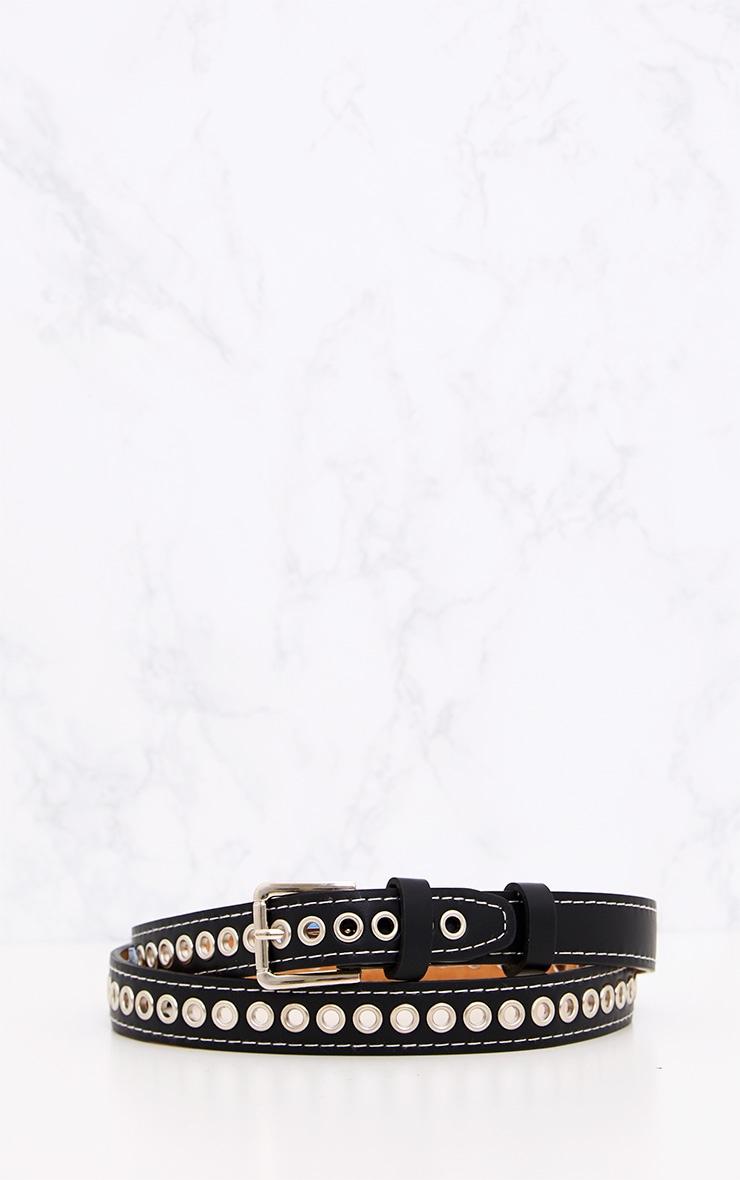 Black Thin Eyelet Detail Belt 4