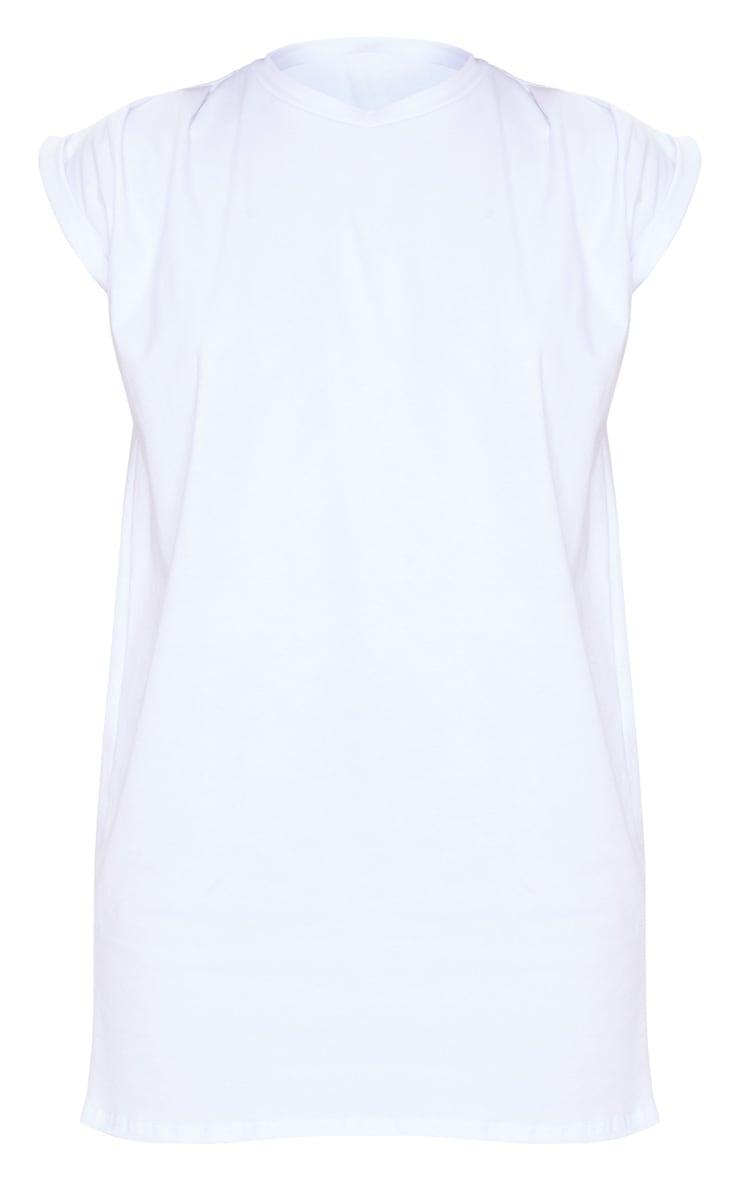 White Oversized Gathered Sleeve T Shirt Dress 5