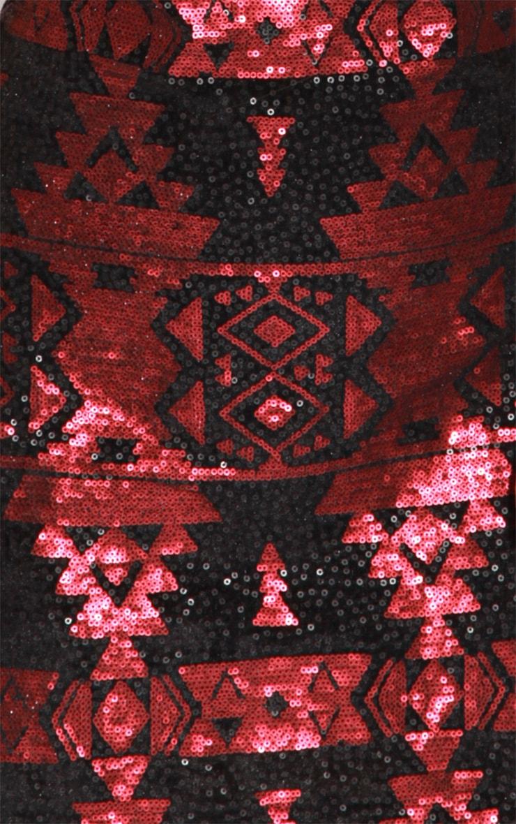 Louise Red & Black Aztec Dress 5