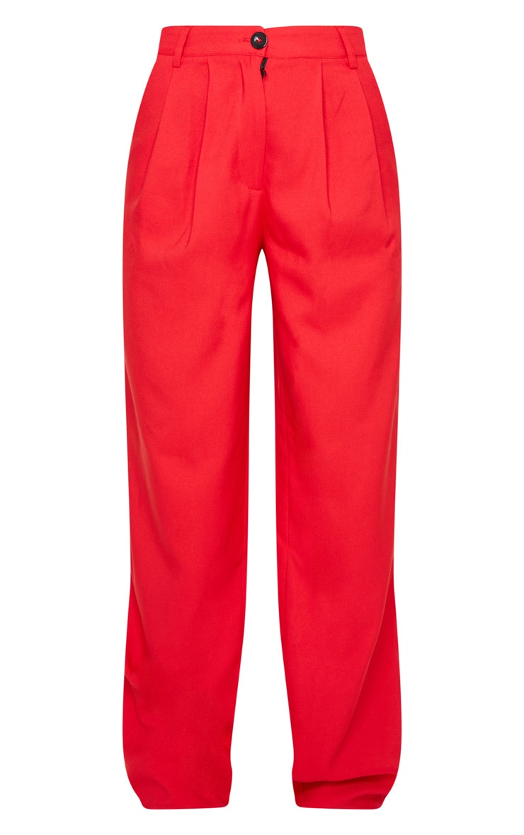 Red Woven Wide Leg Pants 5