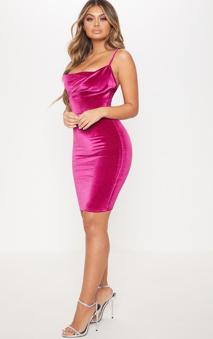 35bb14ee822c Hot Pink Velvet Cowl Neck Bodycon Dress image 1