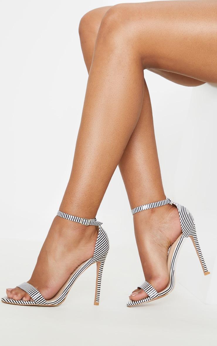 45a823286a7 Shoptagr | Stripe Clover Strap Heeled Sandal by Prettylittlething