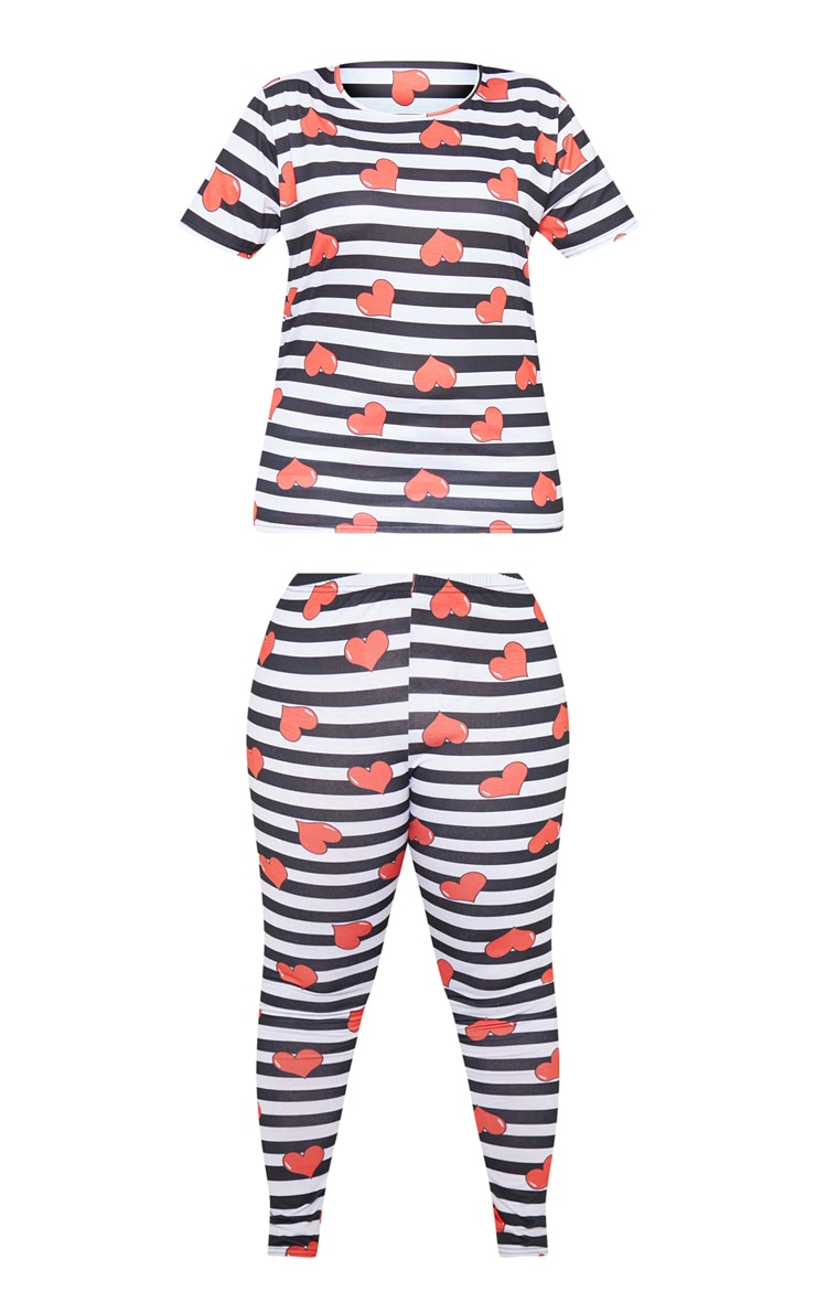 Plus Black Stripe Heart Print Pj Set 3