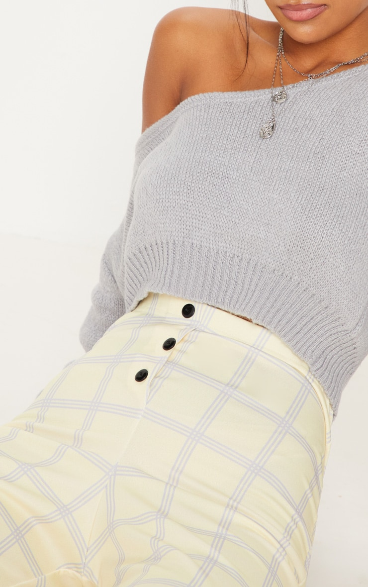Yellow Check Popper Front Skinny Trouser 5