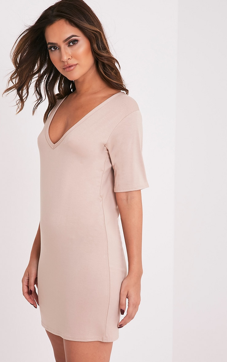 Basic Nude Plunge V Neck T shirt dress 4