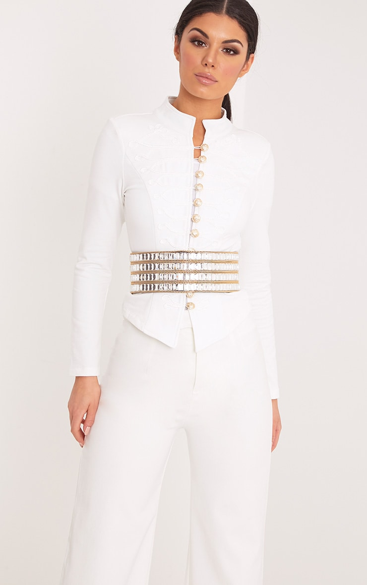 Zoeey White Slim Fit Cropped Military Jacket 4