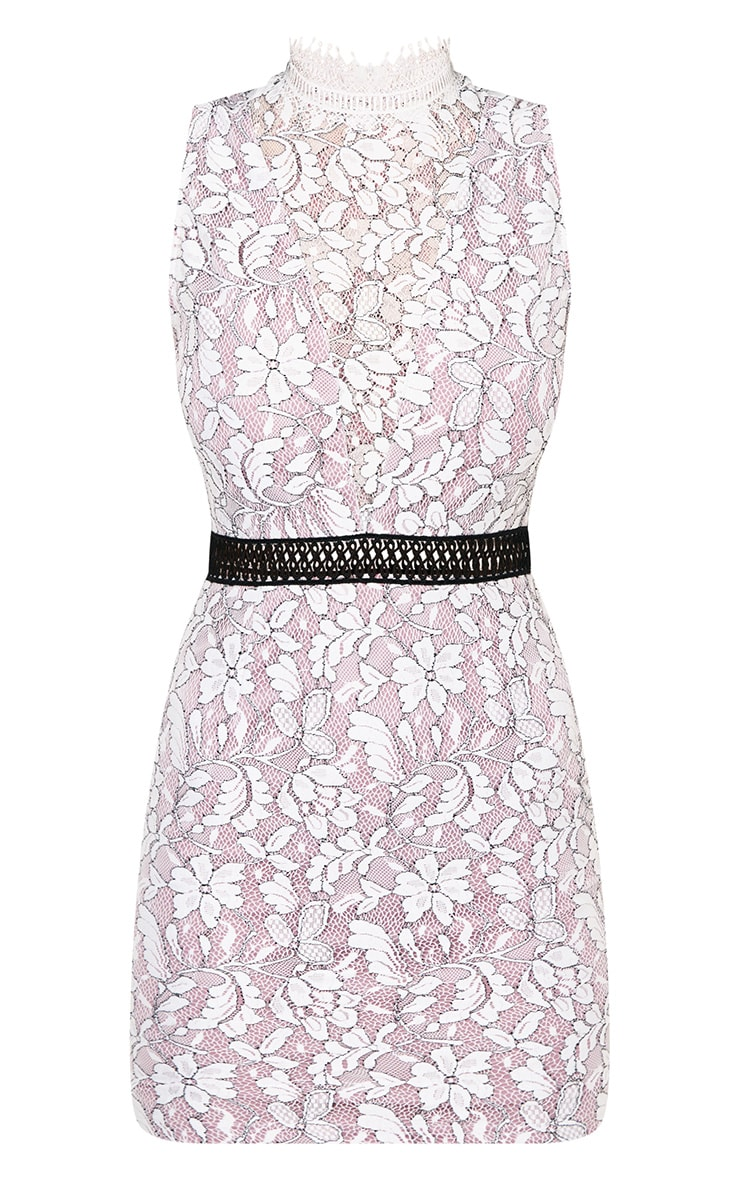 Ailisia Mauve Lace High Neck Bodycon Dress 3
