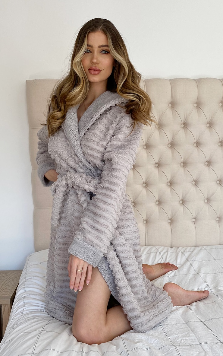 Grey Ribbed Fluffy Dressing Gown 3