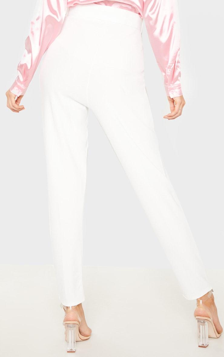 Tall White  High Waisted Belt Detail Trouser  4