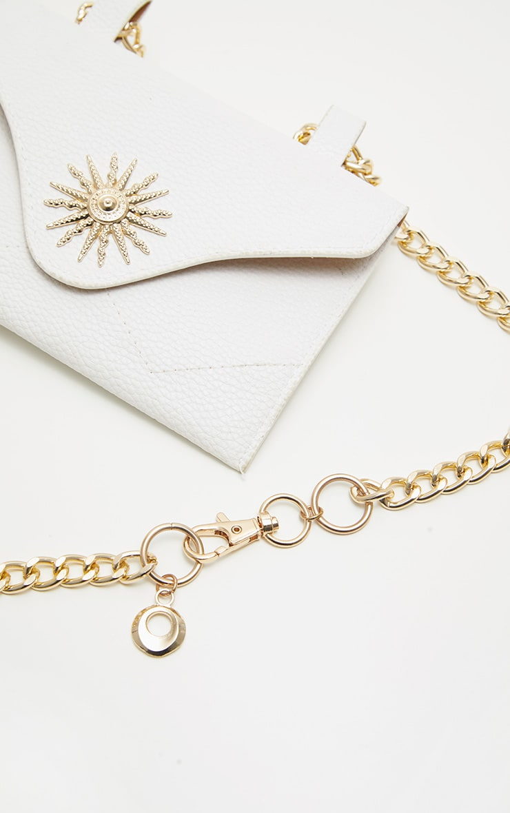 White Sundial Chain Belted Bum Bag 3