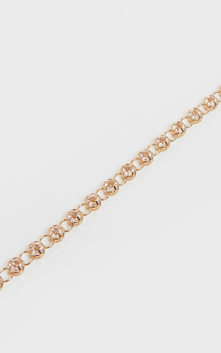 Gold Diamante Skinny Multi Chain Belt 2