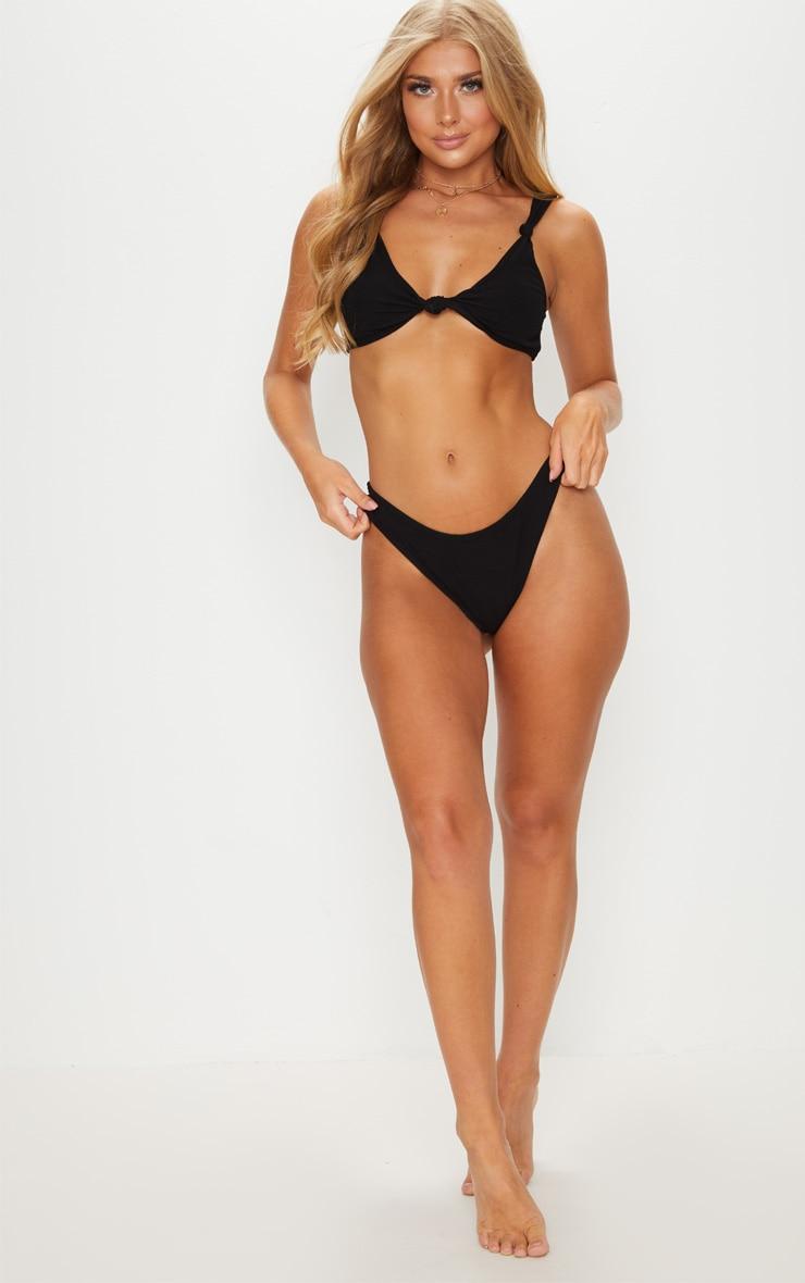 Black Knotted Rib Bikini Top 4