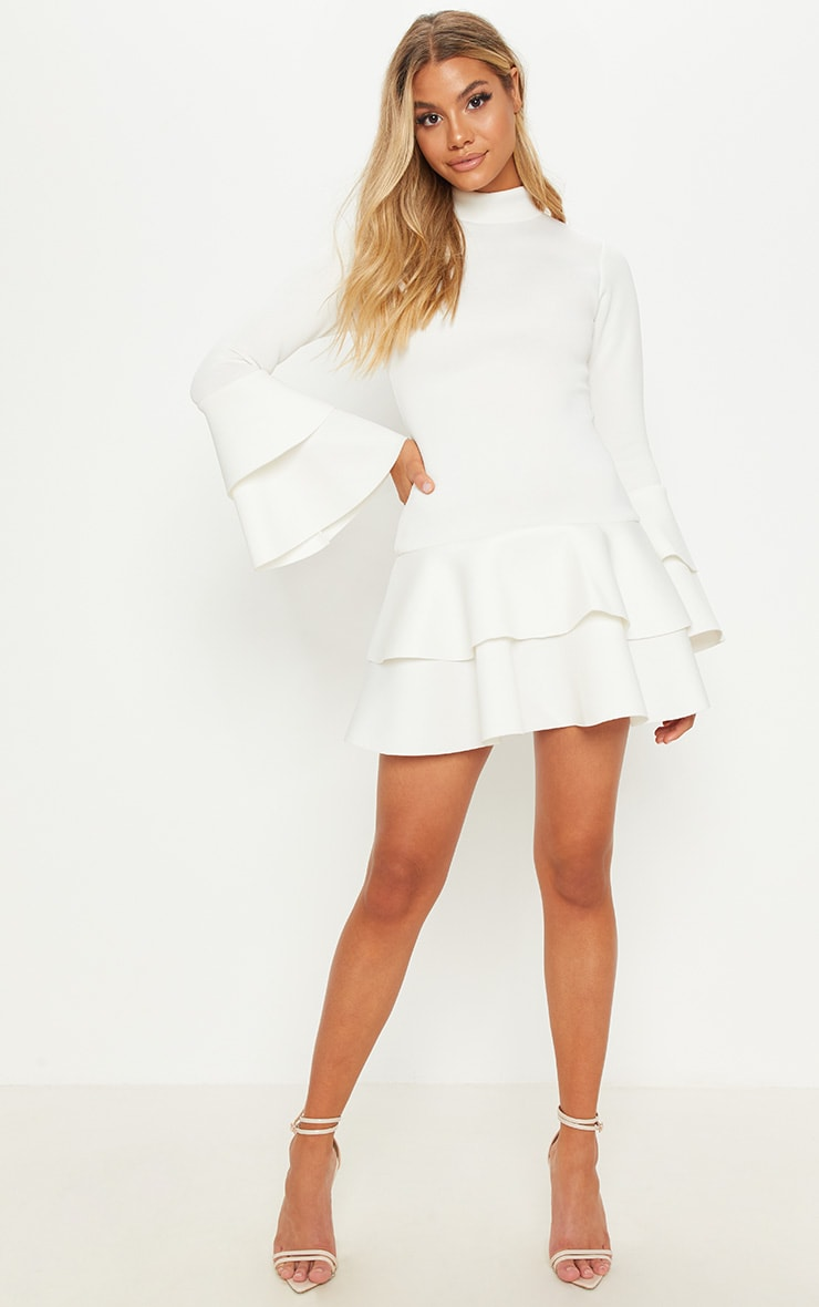 White Bonded Scuba Ruffle Sleeve Bodycon Dress 3