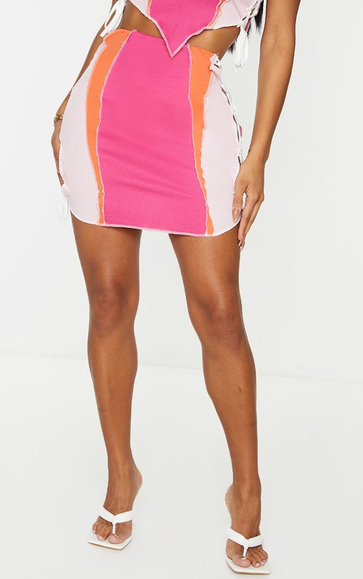 Shape Hot Pink Rib Panel Overlock Lace Up Side Bodycon Skirt 2