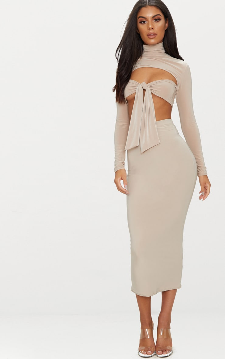 Taupe Slinky Roll Neck Tie Front Crop Top  4