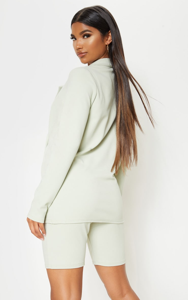 Sage Double Breasted Button Suit Jacket  2