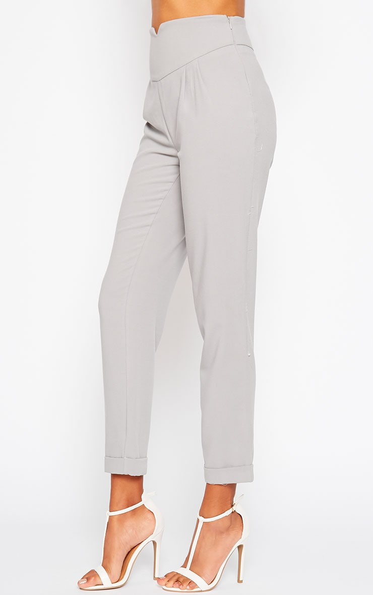 Elenor Light Grey High Waisted Tapered Trousers 4