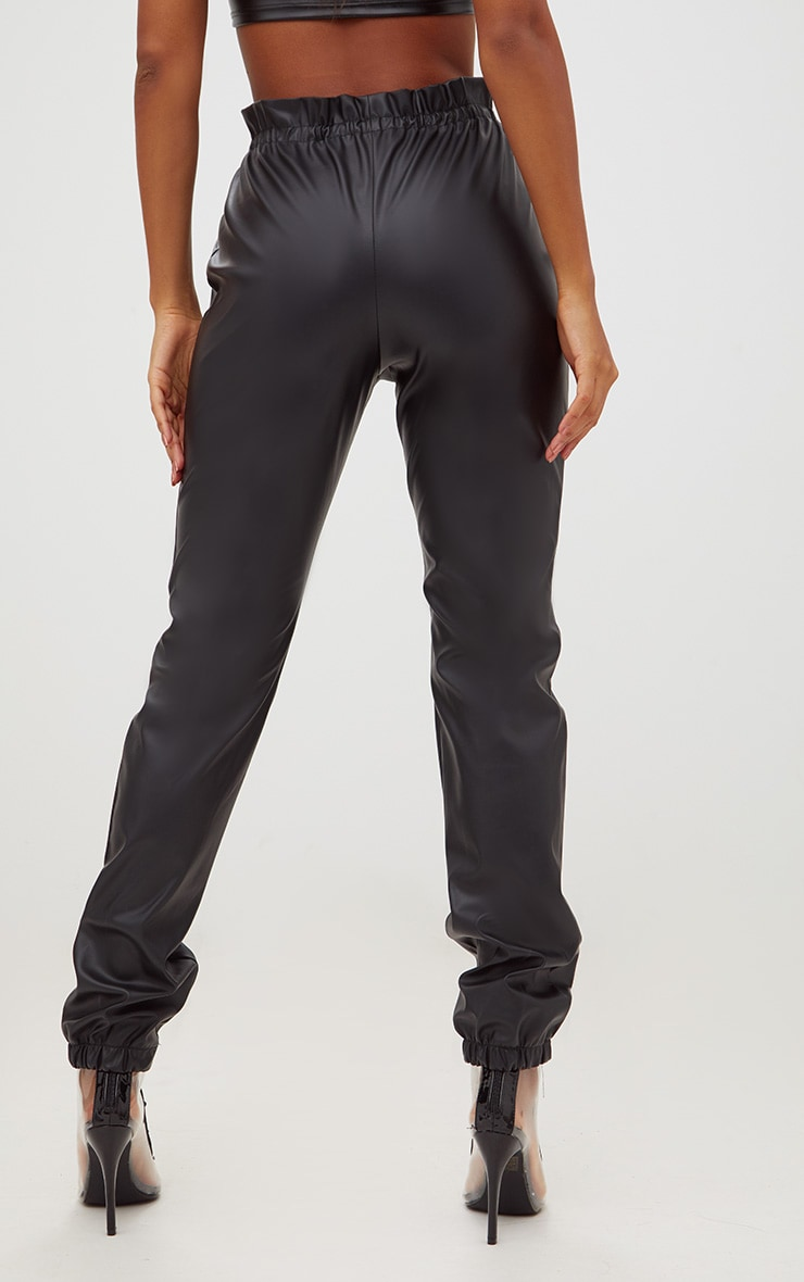 Black Faux Leather Paperbag Joggers 4