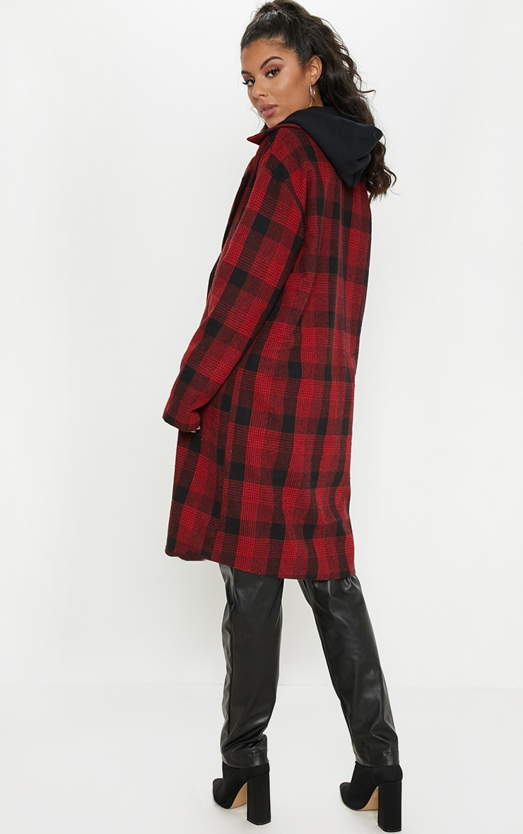 Red Checked Oversized Coat 2