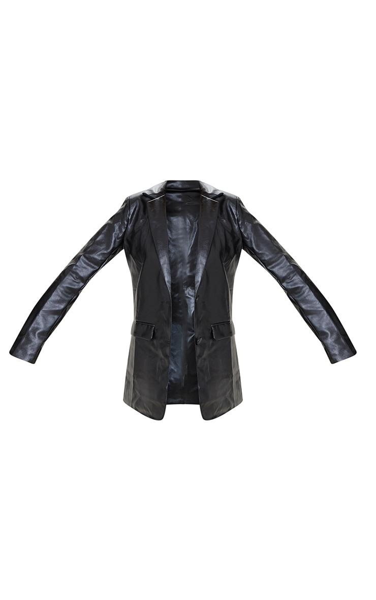 Blazer oversize en similicuir noir à ourlet arrondi et épaulettes 5