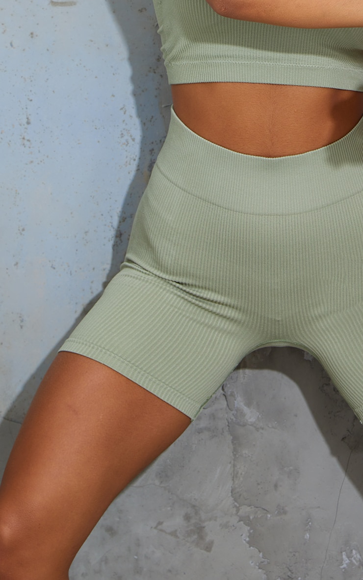 Sage Green Seamless High Waist Rib Shorts 5
