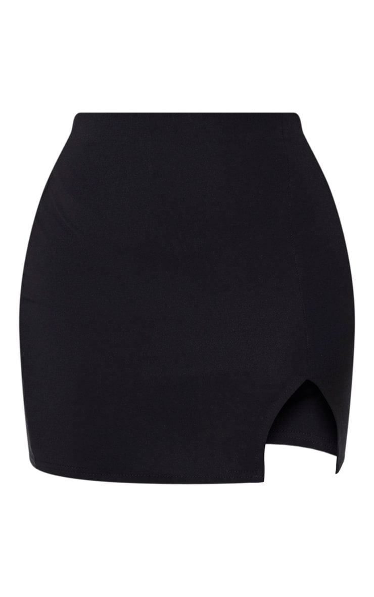 Shape - Jupe moulante en coton noir fendue à l'avant 6