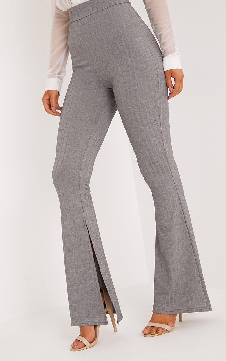 Soreya Grey Ribbed Inside Split Wide Leg Trousers  4