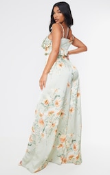 Sage Green Floral Strappy Ruffle Wide Leg Jumpsuit 2