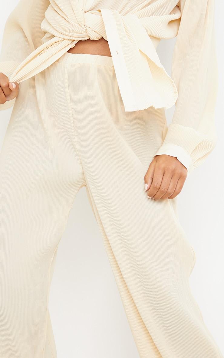 Tall  Cream Plisse Highwaisted Wide Leg Trousers 4