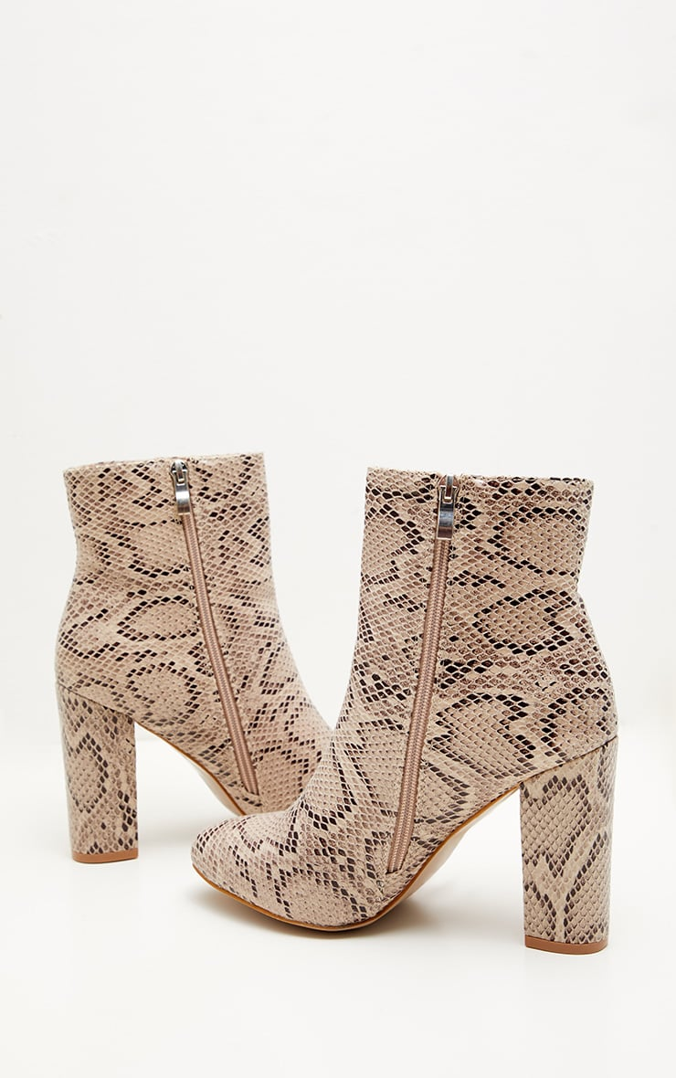 Snake Faux Leather Ankle Boot  4
