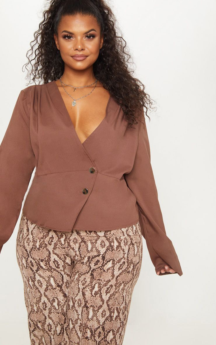 Plus Chocolate Brown Draped Button Detail Blouse 1