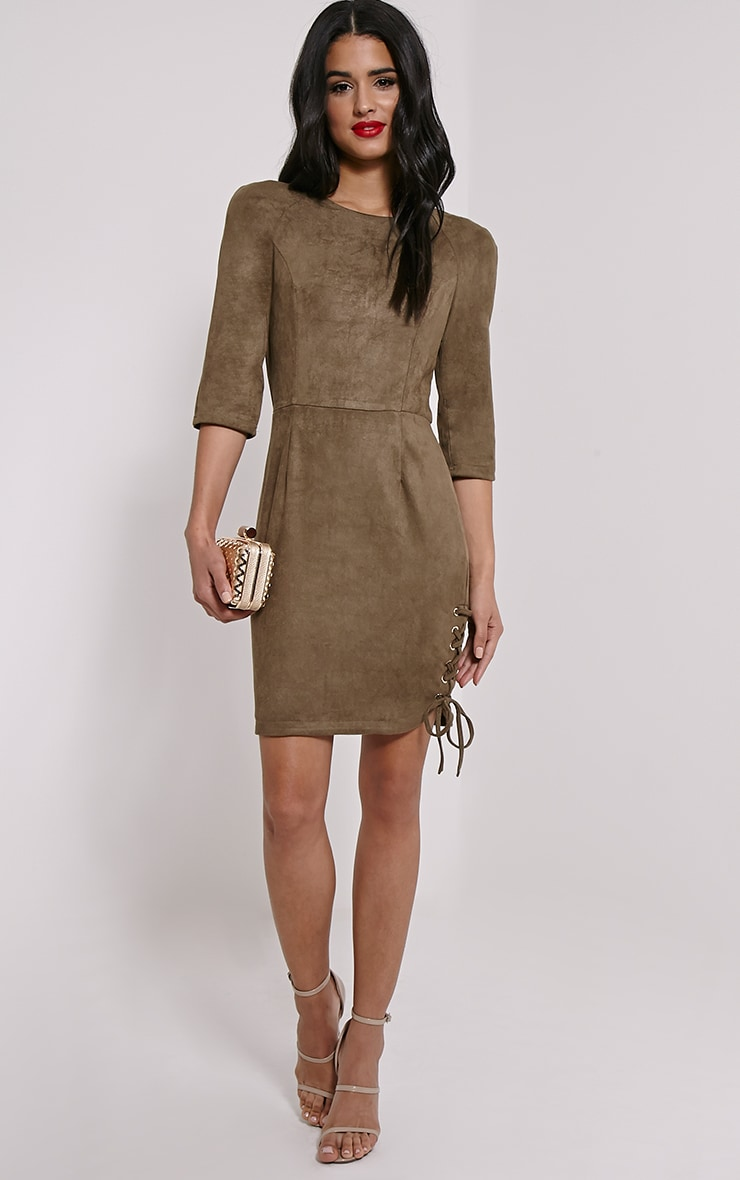Brooke Khaki Lace Up Detail Suede Dress 3