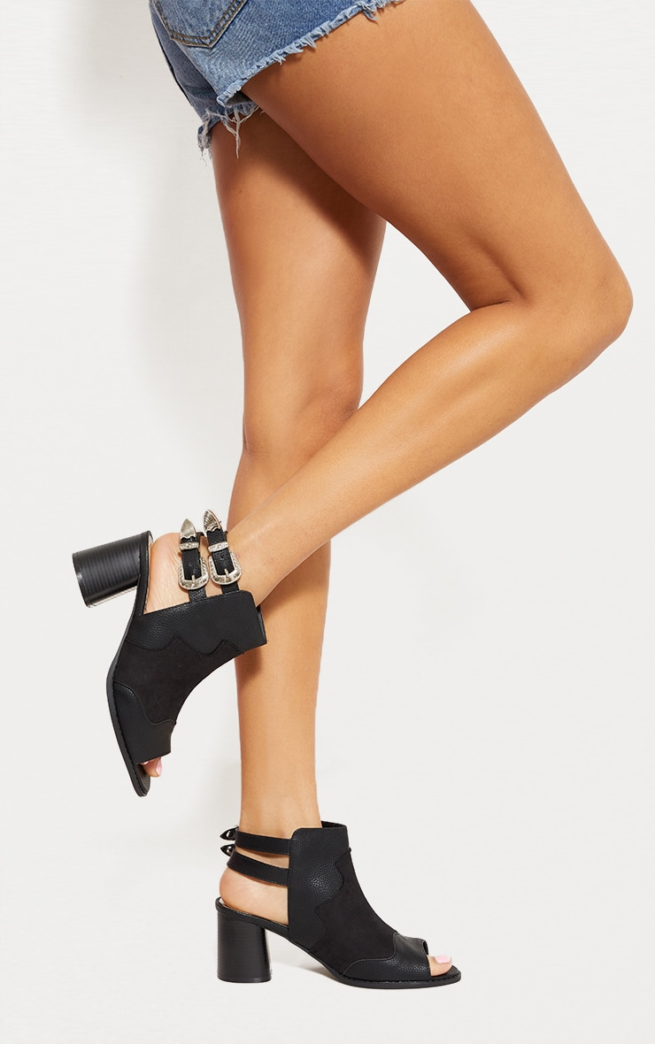 Black Western Buckle Cut Out Block Heel Ankle Boot 1