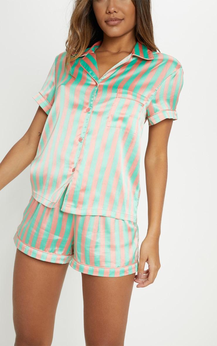 Ensemble de pyjama vert sauge rayé à boutonner 5