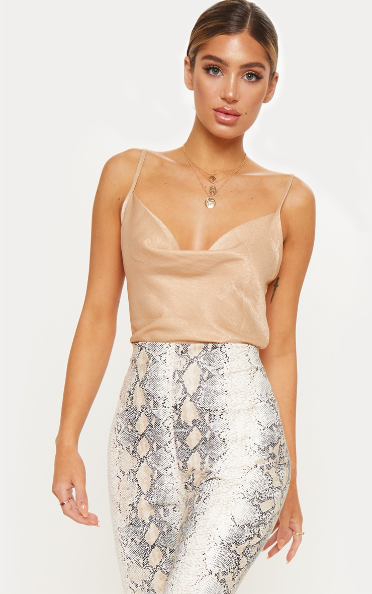 Champagne Hammered Satin Cowl Cami 1